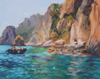 View of Capri Italy from boat Oil painting