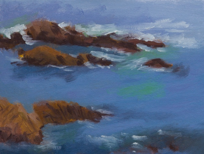 Asilomar State Park seascape with rocks oil painting