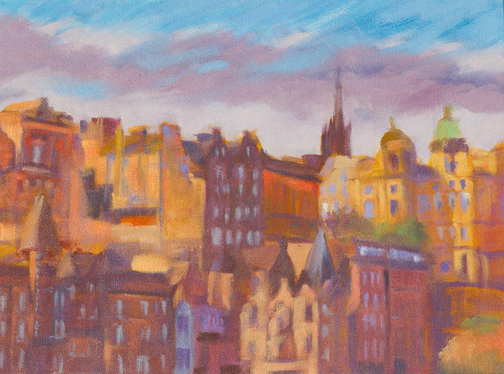 Edinburgh, Scotland cityscape in vivid color in oil on canvas