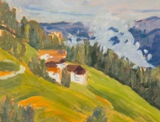 Chalets on green hillside in Alpbach, Austria