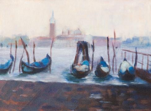 Gondolas in Venice with San Maggiore in the distance