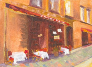 french sidewalk cafe with tables in oil
