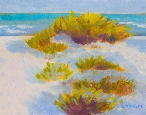 Sanibel Island Evening Light on grasses en plein air oil painting