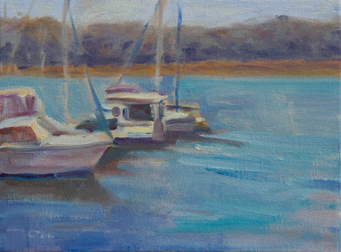 Two boats in Johns Island Marina oil painting en plein air