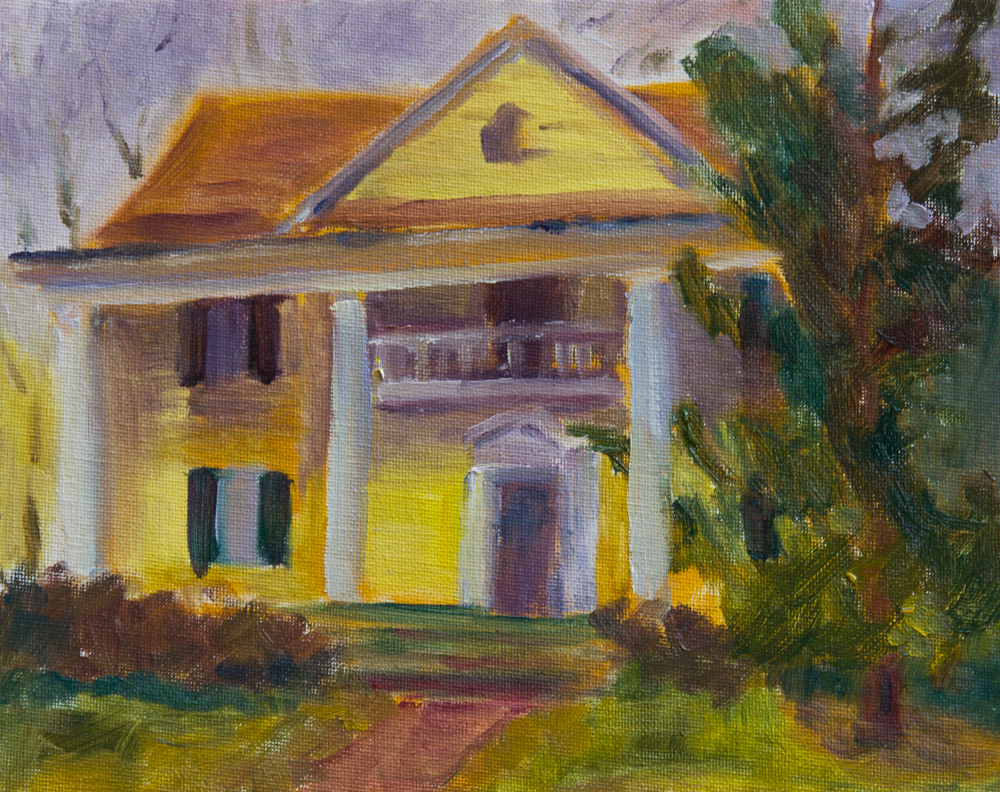 Historic Yellow house small oil painting plein air