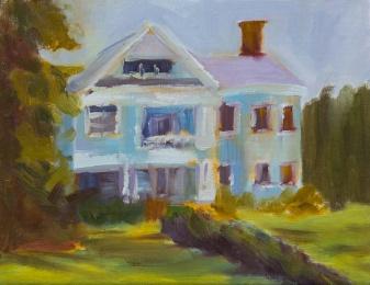 Historic blue house in Madison, Ga oil painting en plein air g