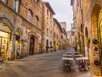 Village of San Gimignano in Evening